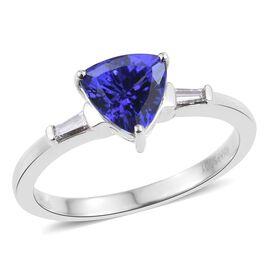 RHAPSODY 950 Platinum AAAA Tanzanite (Trl 1.40 Ct), Diamond Ring 1.500 Ct.