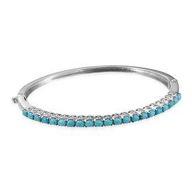 Arizona Sleeping Beauty Turquoise (Ovl) Bangle (Size 7.5) in Platinum Bond 2.750 Ct.