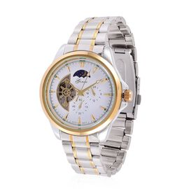 (Option 1) GENOA Automatic Skeleton White and Golden Dial Water Resistant Watch in Gold Tone with Stainless Steel Back and Chain Strap