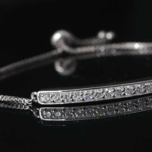 J Francis - Platinum Overlay Sterling Silver (Rnd) Adjustable Bracelet (Size 7 to 7.5) Made with SWAROVSKI ZIRCONIA