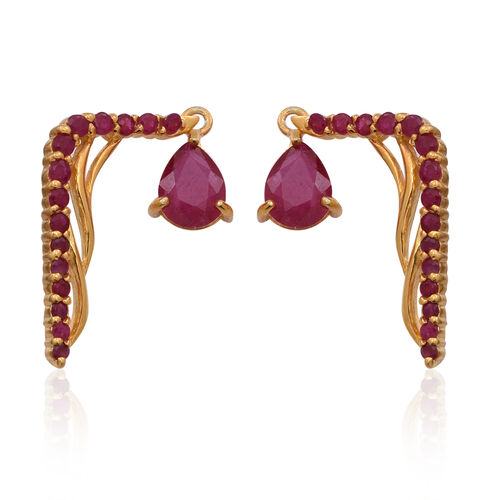 African Ruby (Pear), Burmese Ruby Climber Earrings in 14K Gold Overlay Sterling Silver 4.500 Ct.