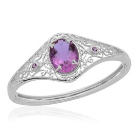 Lavender Alexite (Ovl 15.04 Ct), Amethyst Bangle (Size 7) in Platinum Overlay Sterling Silver 15.220 Ct.