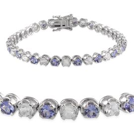 Tanzanite (Rnd), White Topaz Tennis Bracelet (Size 7.5) in Platinum Overlay Sterling Silver 12.500 Ct.