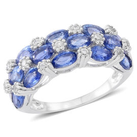 9K W Gold AA Ceylon Blue Sapphire (Ovl), White Zircon Ring 4.000 Ct.