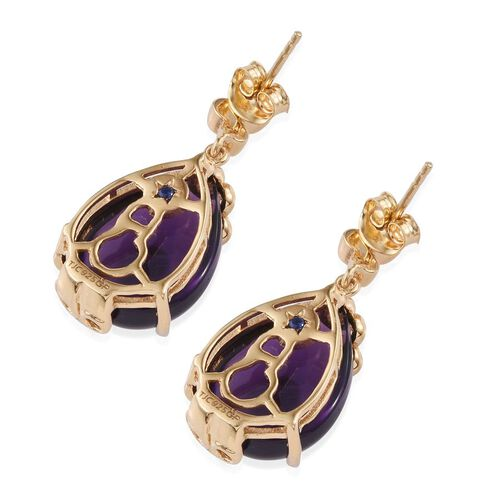 GP Amethyst (Pear), Rhodolite Garnet and Kanchanaburi Blue Sapphire Earrings (with Push Back) in 14K Gold Overlay Sterling Silver 21.000 Ct.