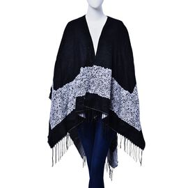 Reversible Black and White Colour Poncho (Size 130x75 Cm)