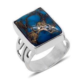 Royal Bali Collection Mojave Blue Turquoise (Oct) Solitaire Ring in Sterling Silver 9.270 Ct.