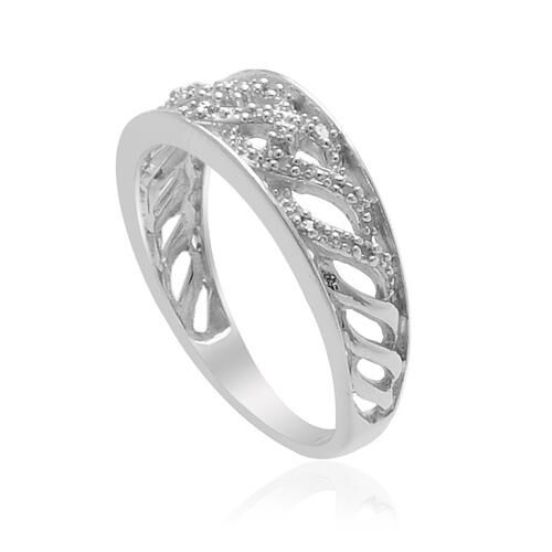 Diamond Platinum Overlay Sterling Silver Ring  0.060 Ct.
