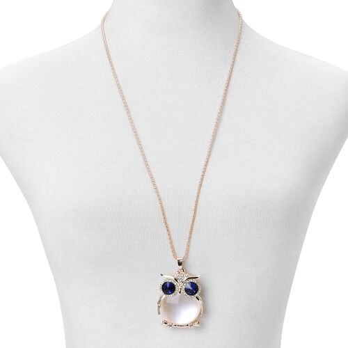 Simulated White Cats Eye, Simulated Sapphire and White Austrian Crystal Owl Pendant With Chain (Size 28) in Rose Gold Tone