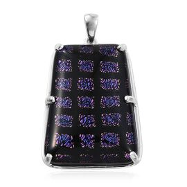 One Time Deal-Purple Camofine Dichroic Glass (Taper Bgt) Pendant in Plated Platinum Bond 75.000 Ct.