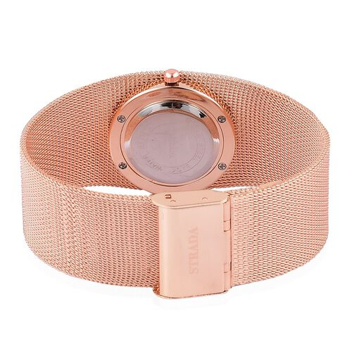STRADA Japanese Movement Silver Sunshine Dial Water Resistant Mesh Chain Bracelet Watch in Rose Gold Tone with Stainless Steel Back