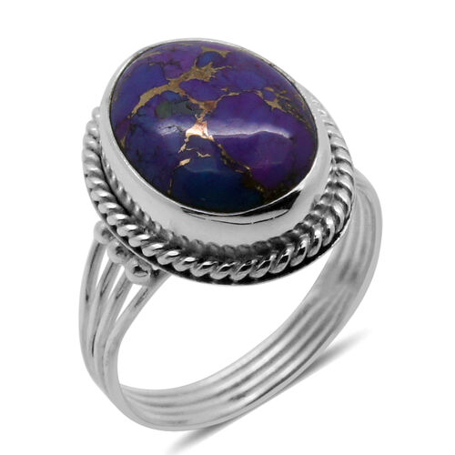 Royal Bali Collection Mojave Purple Turquoise (Ovl) Solitaire Ring in Sterling Silver 12.500 Ct.