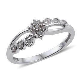 Diamond Flower Promise Silver Ring in Platinum Overlay 0.150 Ct.
