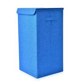 Blue Colour Collapsible Storage/Laundry Basket with Lid (Size 60x30x30 Cm)