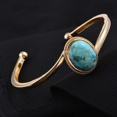 Arizona Matrix Turquoise (Ovl) Cuff Bangle (Size 7.5) in 14K Gold Overlay Sterling Silver 11.250 Ct.