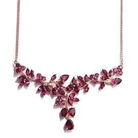 Designer Inspired Odisha Rhodolite Garnet Cocktail Necklace (Size 18) in Rose Gold Overlay Sterling Silver 17.000 Ct.
