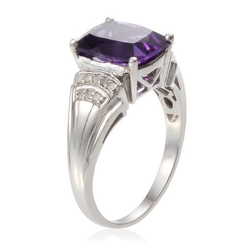 Lusaka Amethyst (Cush 3.65 Ct), Diamond Ring in Platinum Overlay Sterling Silver 3.800 Ct.