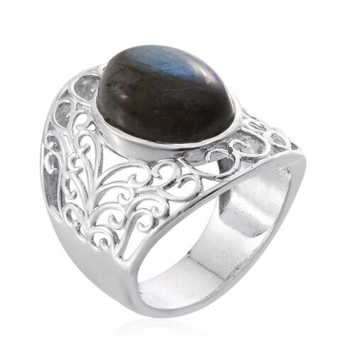 Labradorite (Ovl) Filigree Ring in Platinum Overlay Sterling Silver 8.500 Ct.