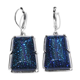 One Time Deal-Blue Camofine Dichroic Glass (Taper Bgt) Lever Back Earrings in Platinum Bond.