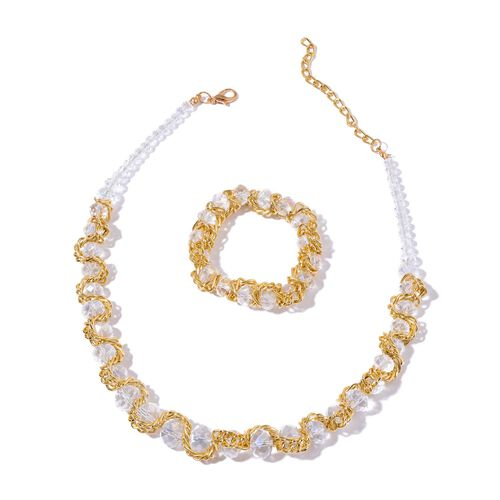 Simulated White Diamond Necklace (Size 20 with 2 inch Extender) and Stretchable Bracelet (Size 7.50) in Gold Tone