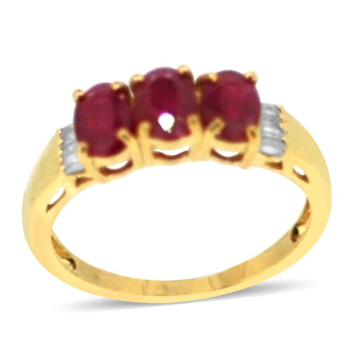 Burmese Ruby (Ovl), Diamond Ring in 14K Gold Overlay Sterling Silver 1.750 Ct.