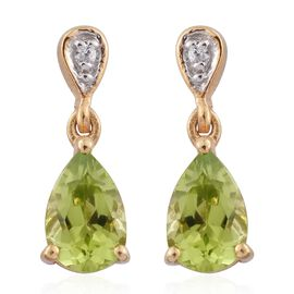 1.75 Carat Hebei Peridot And Natural Cambodian Zircon Earrings  in 14K Gold Overlay Sterling Silver
