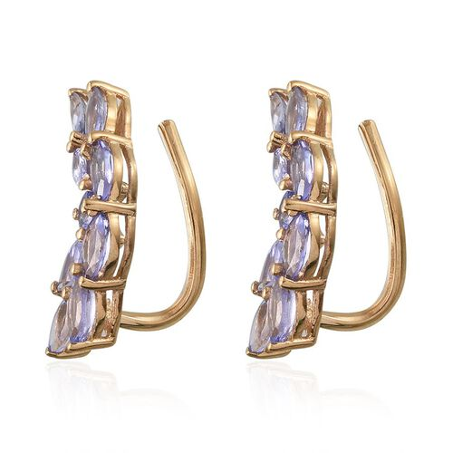 Tanzanite (Mrq) Climber Earrings in 14K Gold Overlay Sterling Silver 2.500 Ct.
