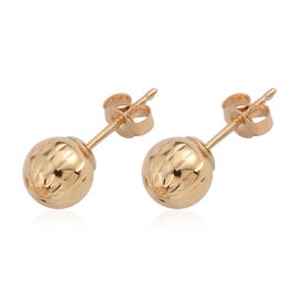 One Time Deal Tucson Collection - 14K Y Gold Diamond Cut Ball Stud Earrings (with Push Back)