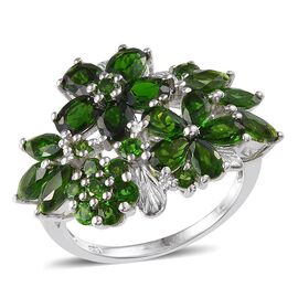 Russian Diopside (Ovl) Ring in Platinum Overlay Sterling Silver 5.750 Ct.