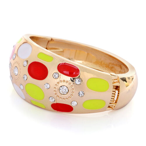 White Austrian Crystal Multi Colour Enameled Bangle (Size 7.5) in Gold Tone