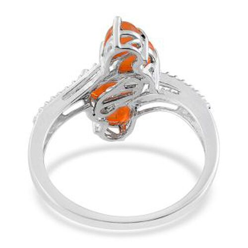 Orange Ethiopian Opal (Pear) Crossover Ring in Platinum Overlay Sterling Silver 1.250 Ct.