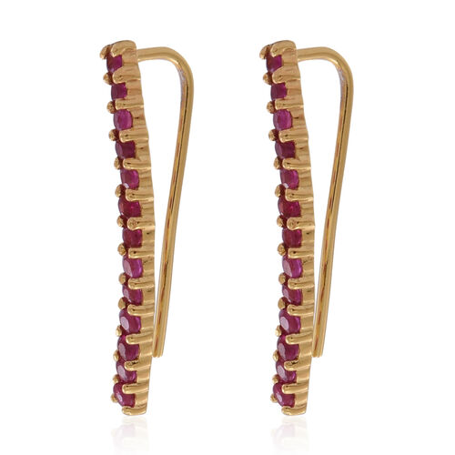 Burmese Ruby (Rnd) Climber Earrings in 14K Yellow Gold Overlay Sterling Silver 1.250 Ct.