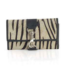 Genuine Leather Zebra Pattern Black and Cream Colour Wallet (Size 15x9 Cm)