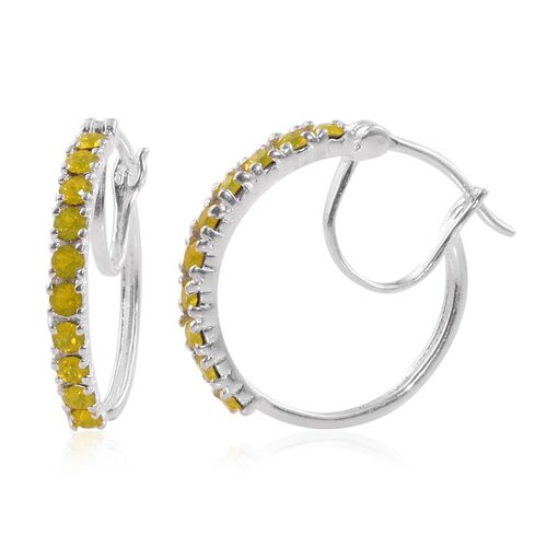 J Francis Crystal from Swarovski - Citrine Colour Crystal (Rnd) Hoop Earrings (with Clasp) in Sterling Silver