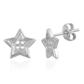 LucyQ Star Button Stud Earrings (with Push Back) in Rhodium Plated Sterling Silver