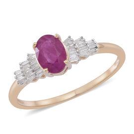 9K Y Gold AA Burmese Ruby (Ovl 1.00 Ct), Diamond (I3/G-H) Ring 1.250 Ct.