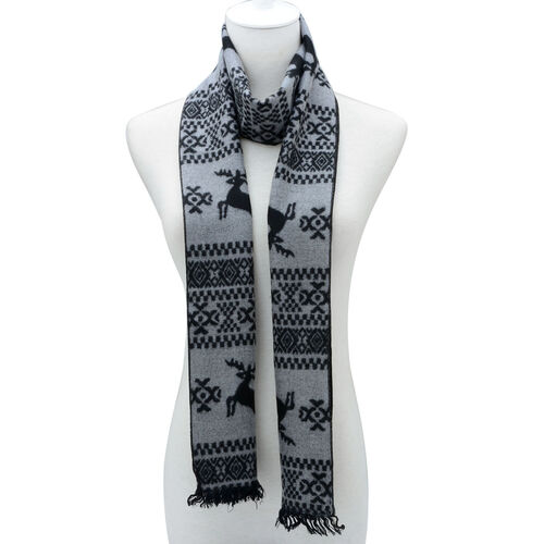 Deer Printed Black and Grey Scarf (Size 30x180 Cm)