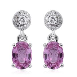 ILIANA 18K White Gold 1.89 Ct AAA Pink Sapphire Earrings with Diamond (SI/G-H) Screw Back
