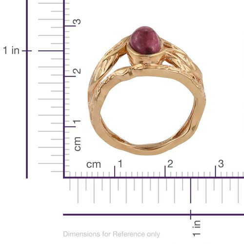 Norwegian Thulite (Ovl) Solitaire Ring in 14K Gold Overlay Sterling Silver 1.750 Ct.