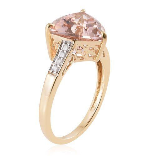 9K Yellow Gold 4.1 Ct Trillion AA Marropino Morganite Ring with Diamond (I4/ H-I)