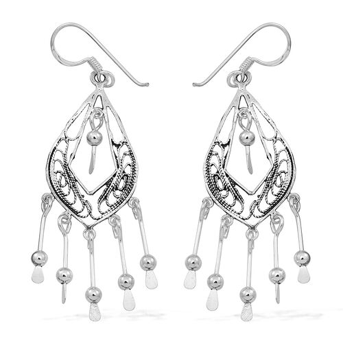 (Option 2) Thai Sterling Silver Hook Earrings, Silver wt 4.31 Gms.