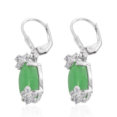 Green Jade (Ovl), Natural Cambodian Zircon Lever Back Earrings in Platinum Overlay Sterling Silver 20.000 Ct.