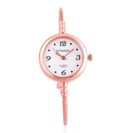 STRADA Japanese Movement White Dial Water Resistant Bangle Watch in Rose Gold Tone with Stainless Steel Back