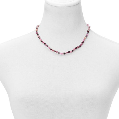 (Option 3) Multi Tourmaline Necklace (Size 18 with 2 inch Extender) in Rhodium Plated Sterling Silver 55.000 Ct.
