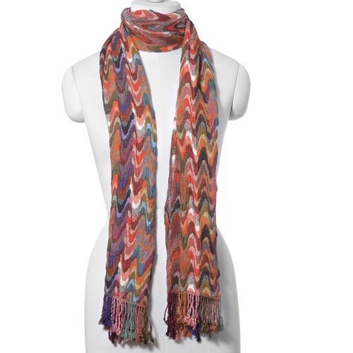 Multi Colour Wave Pattern Stretchable Scarf (Size 35x180 Cm)