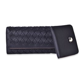 Set of 2 - Black Colour Weave Pattern Long Wallet (Size 19.5x10x2.5 Cm) and Small Wallet (Size 11x10 Cm)