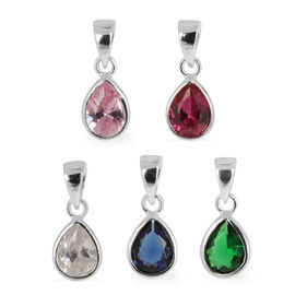 Set of 5 - AAA Simulated Blue Sapphire (Pear), Simulated Pink Sapphire, Simulated Ruby, Simulated Emerald and Simulated Diamond Pendant in Rhodium Plated Sterling Silver