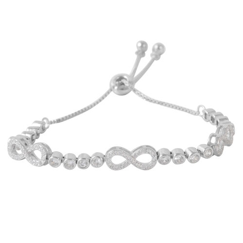 ELANZA AAA Simulated Diamond (Rnd) Bracelet (Size 8) in Sterling Silver