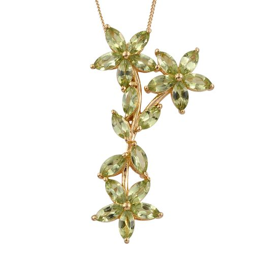 AA Hebei Peridot (Mrq) Floral and Leaves Pendant With Chain in 14K Gold Overlay Sterling Silver 4.500 Ct.