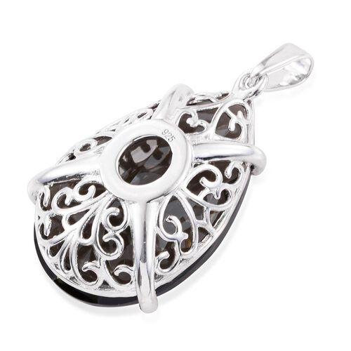 Limited Edition- J Francis Crystal from Swarovski - Black Diamond Satin Crystal (Pear) Pendant in Platinum Overlay Sterling Silver